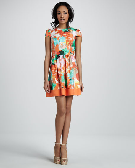 Floral-Print Flare Dress