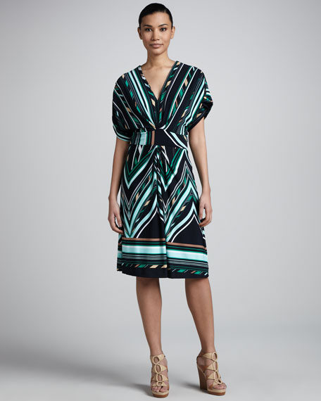 V-Neck Knee-Length Print Dress