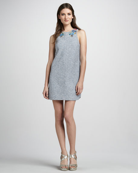Sleeveless Tweed Dress with Embellished Neckline