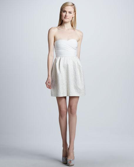 Strapless Metallic Combo  Bandage Dress