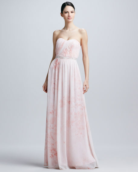 Strapless Watercolor-Print Gown
