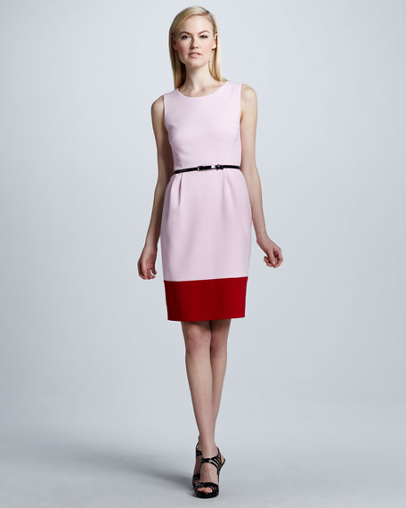 tiff colorblock belted dress
