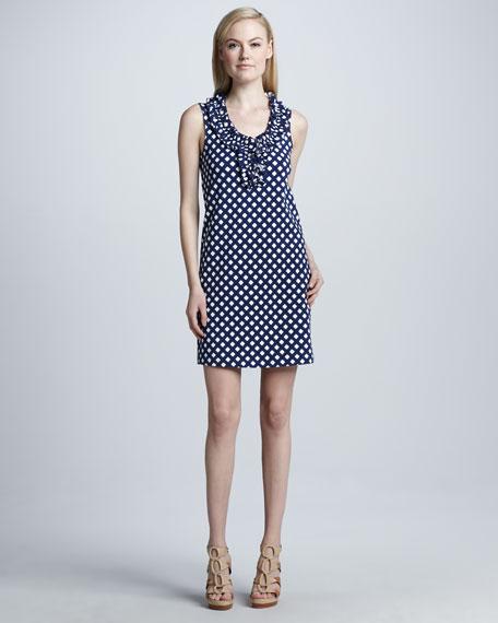lucille sleeveless lattice-knit dress