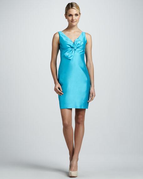 kate spade new york silverscreen bow-front sateen dress