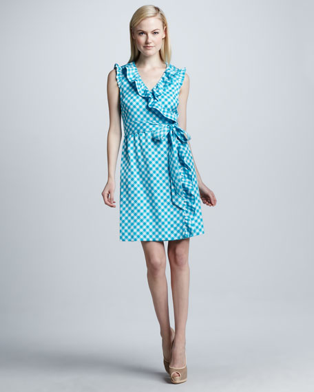 aubrey gingham wrap dress