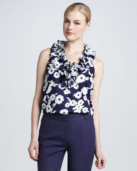 lucille sleeveless printed ruffle-neck blouse
