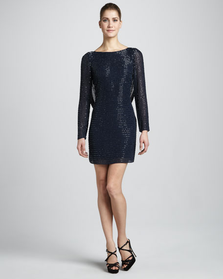 Sequined Cowl-Back Dress