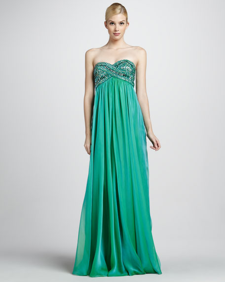 Strapless Beaded Bodice Gown