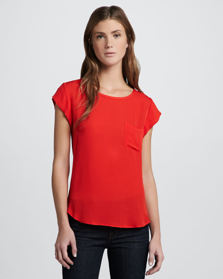 Rancher Cap-Sleeve Top, Fiery Red