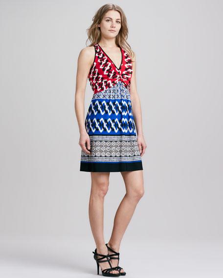 Halter Mixed-Print Jersey Dress