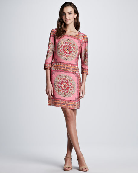 Scarf-Print 3/4-Sleeve Dress