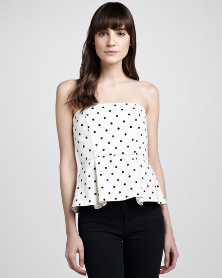Sinclair Strapless Polka-Dot Peplum Top