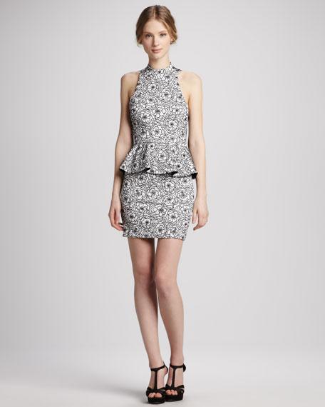 Freya Floral-Print Halter Peplum Dress