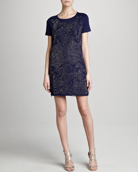 Printed T-Shirt Dress, Navy