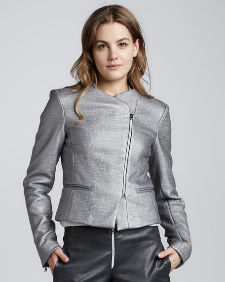 Laminated Zip-Front Jacket