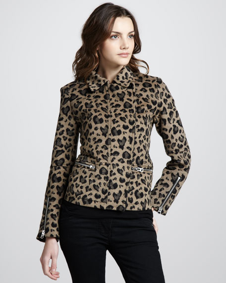 Leopard-Print Fleece Coat
