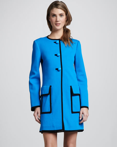 Long Piped Duster Coat, Blue Sky