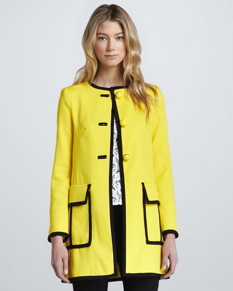 Piped Long Duster Coat, Sunshine/Black