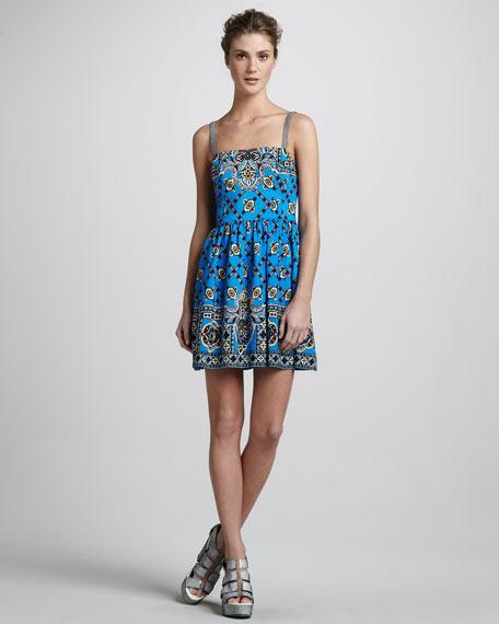 Border-Print Camisole Dress