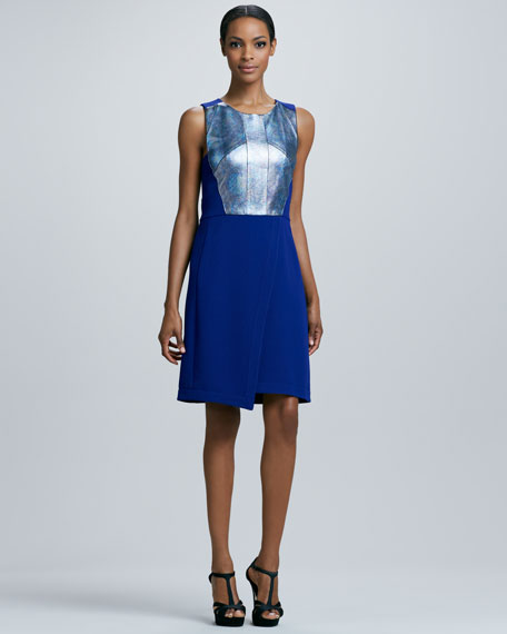 Holographic Leather-Top Dress