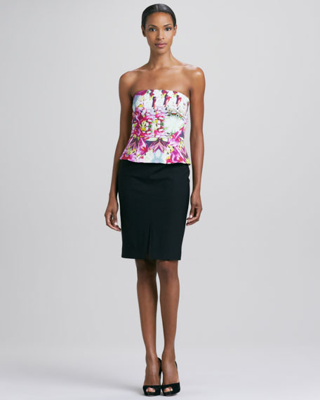 Abstract Orchid Strapless Corset Dress