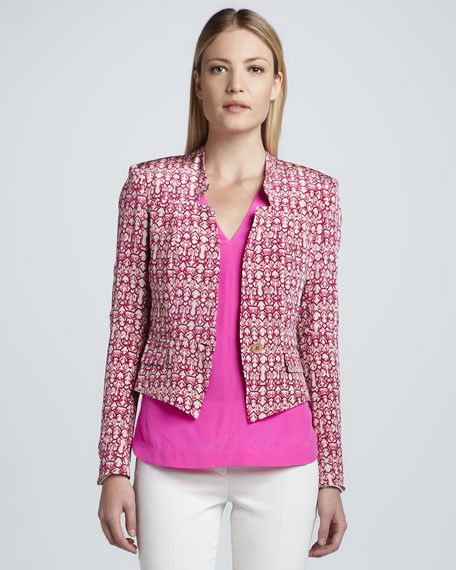 Cropped Abstract Print Jacket