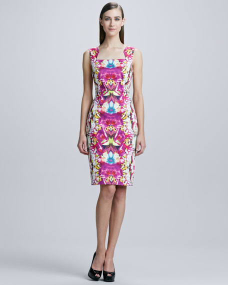 Orchid-Print Square-Neck Dress