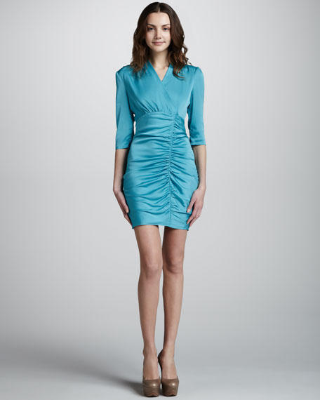 Stretchy Silk Dress with Side Ruching
