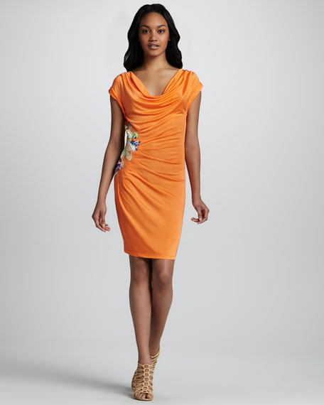 Side-Embroidered Cap-Sleeve Dress