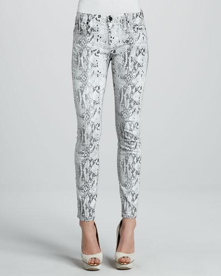 Snake-Print Skinny Jeans
