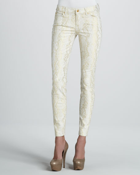 Metallic Snake-Print Skinny Jeans