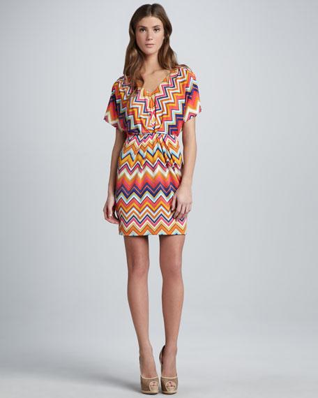 Zigzag-Print Jersey Dress
