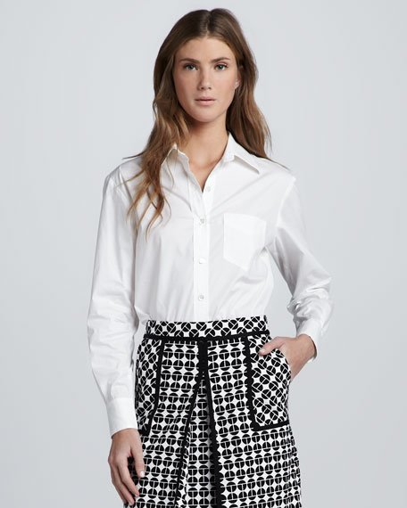 Crepe-de-Chine Pocket Blouse