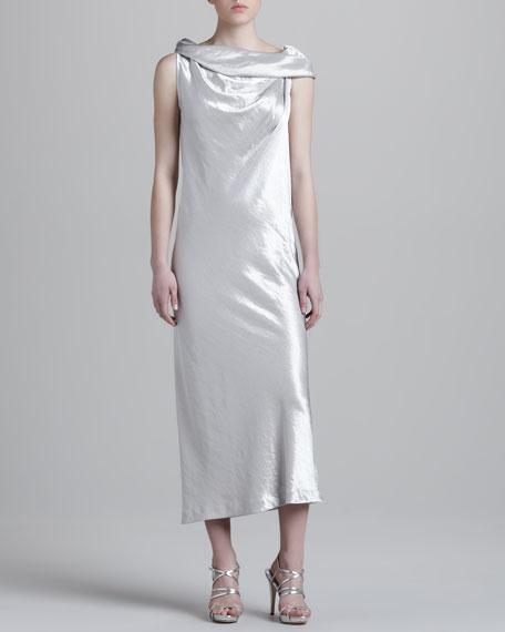 Drape-Neck Metallic Dress