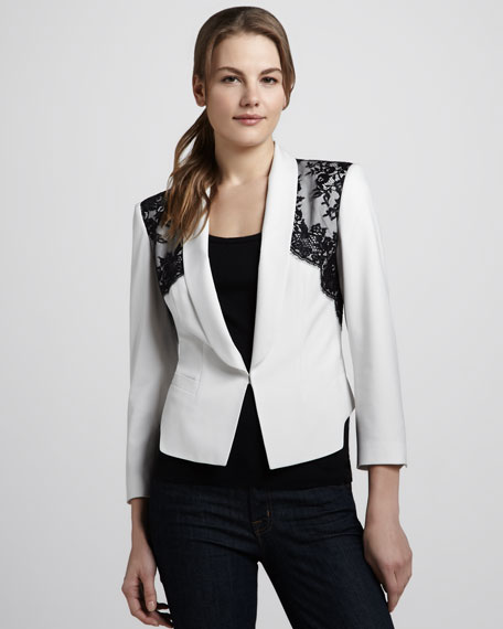 Lace-Shoulder Crepe Blazer