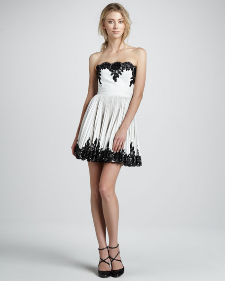 Lace-Applique Pleated Strapless Dress