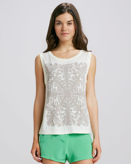 Sleeveless Applique Top