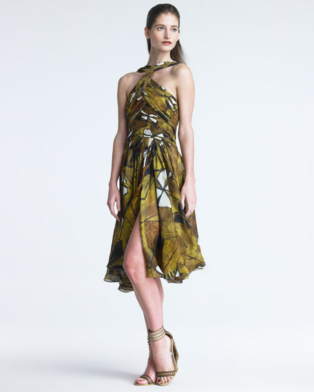 Printed Draped Bodice Dress
