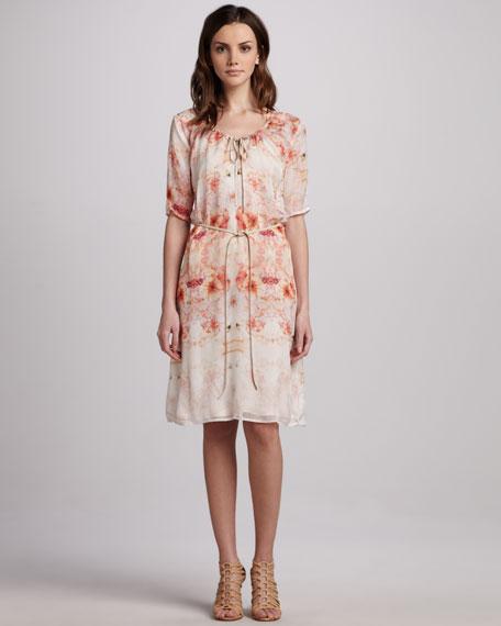 Flora Tie-Waist Georgette Dress