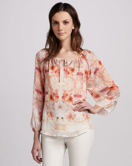 Flora Georgette Peasant Blouse
