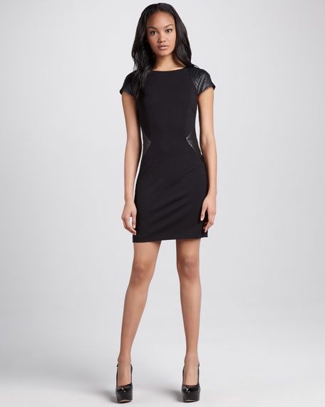 Faux-Leather-Panel Ponte Dress