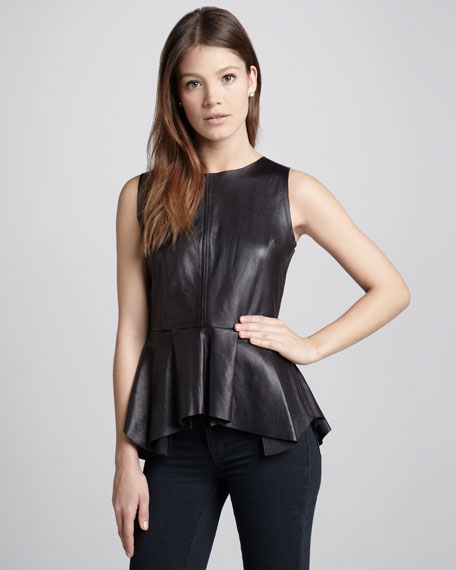 Erin Pleated-Peplum Leather Top, Moonless Nights