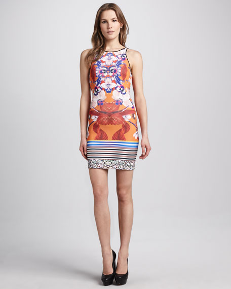 Mixed-Print Jersey Dress