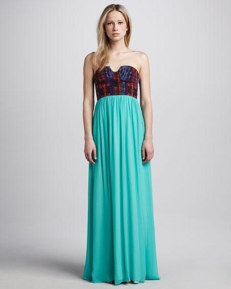Cora  Brocade-Bodice Maxi Skirt