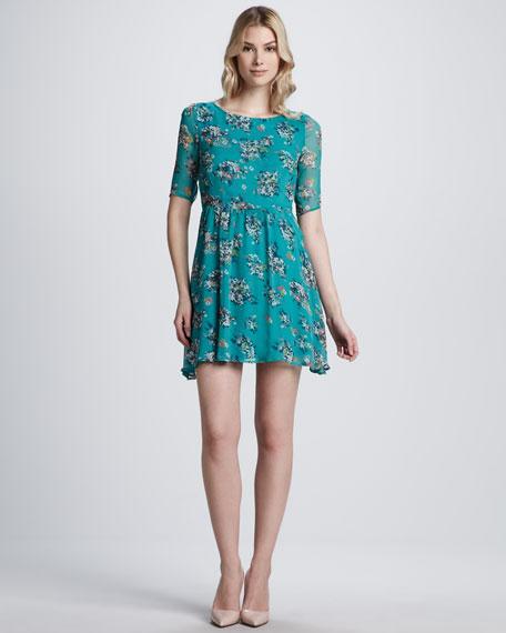 Garden-Print Silk Dress