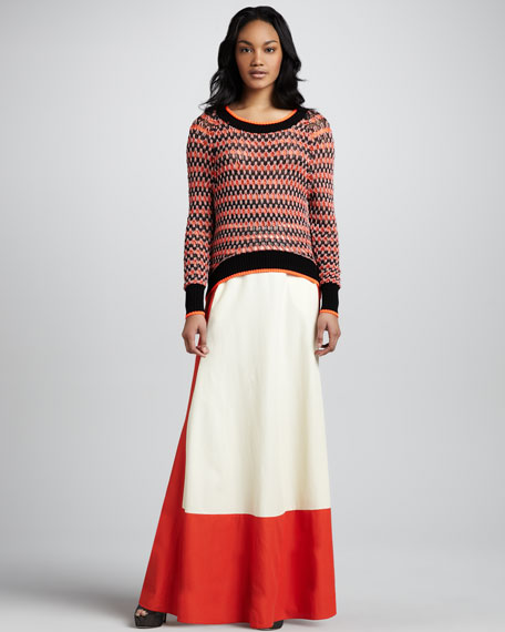 Colorblock Full Maxi Skirt