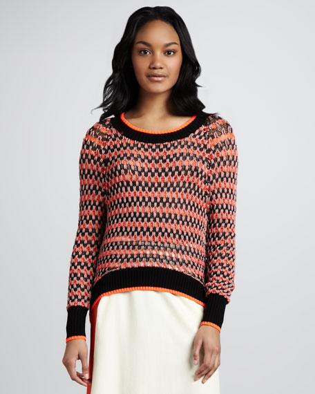 Neon-Trimmed Crew Neck Sweater