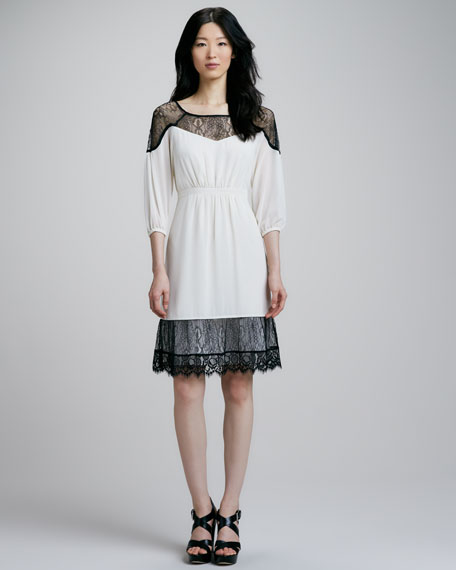 Lace-Trim Georgette Dress
