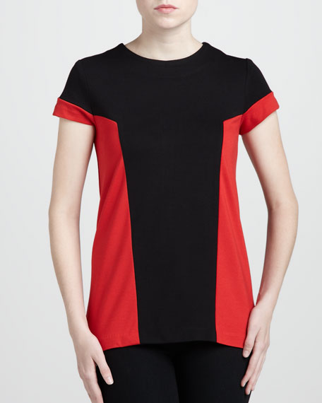 Colorblock Ponte Top, Sable/Poppy