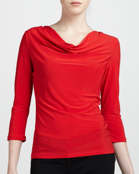 Three-Quarter Cowl Top, Poppy